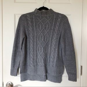 Grey gray knit sweater with high neck size